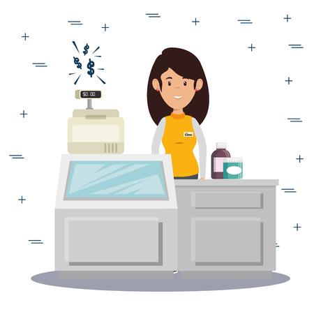 균일 한 벡터 일러스트 그래픽 디자인에 여자 점원과 슈퍼마켓 저장소 카운터 데스크