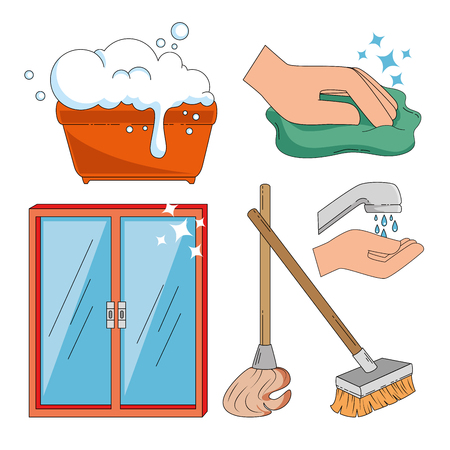 household supplies and cleaning flat icons vector illustration graphic design