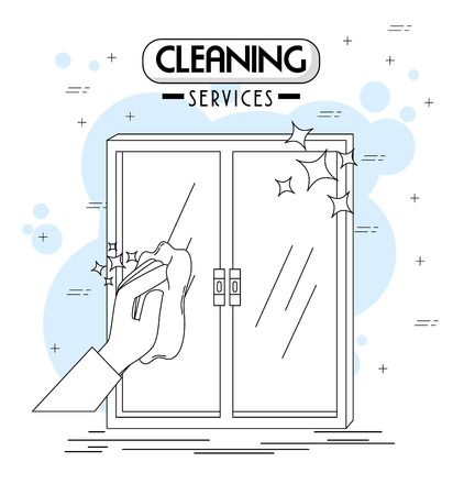 cleaning services emblems and  vector illustration graphic design