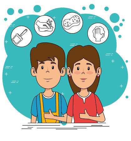 cleaning service staff vector illustration graphic design Illustration