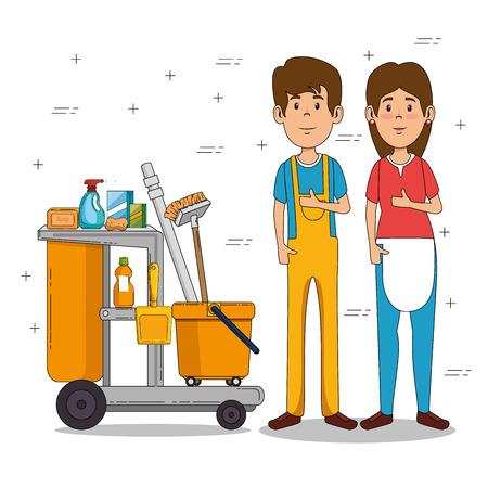 cleaning service staff vector illustration graphic design Ilustração