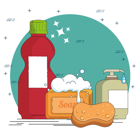 household cleaning supplies vector illustration graphic design