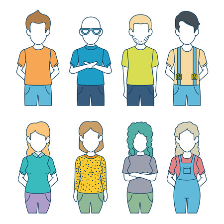 faceless woman and man character avatar people vector illustration graphic design