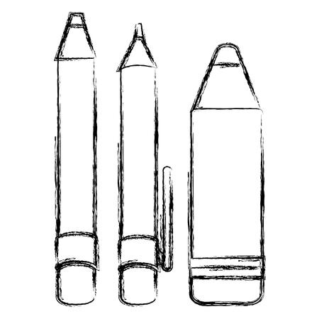ペン鉛筆とクレヨンのベクトル イラスト デザイン学校