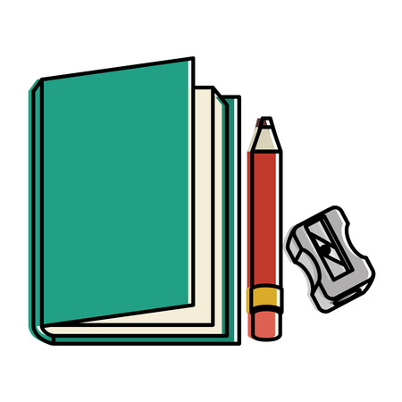 text book school with pencil and sharpeneer vector illustration design