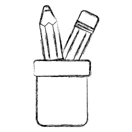 pencil holders isolated icon vector illustration design