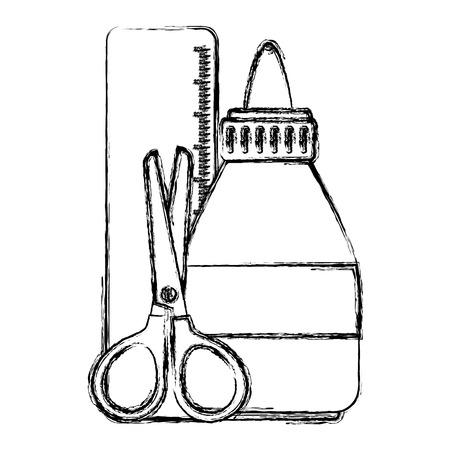 ルールとはさみベクトルイラストデザインの接着剤ボトル