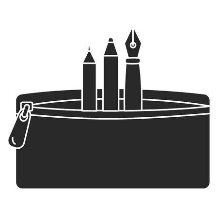 étui à crayons avec stylo et couleurs vector illustration design Vecteurs