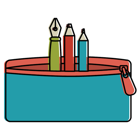 pencil case with pen and colors vector illustration design