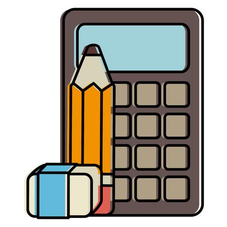 calculator math with pencil and eraser vector illustration design Stock Photo