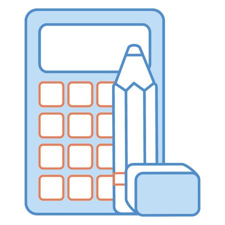 mathematics: calculator math with pencil and eraser vector illustration design Illustration