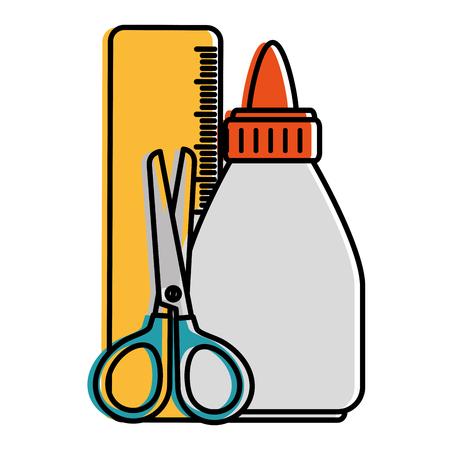 glue bottle with rule and scissors vector illustration design Ilustração