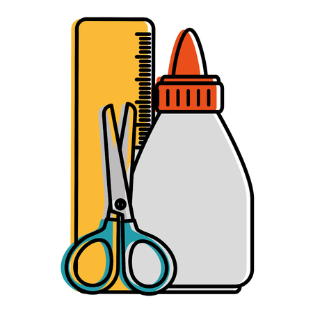 glue bottle with rule and scissors vector illustration design Çizim