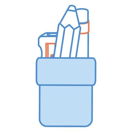 pencil holders with sharpeneer vector illustration design Illustration