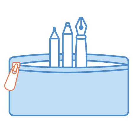 ペンと色の鉛筆ケースベクトルイラストデザイン 写真素材 - 85453107