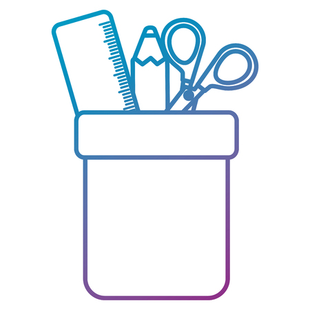 pencil holders with rule and scissors vector illustration design