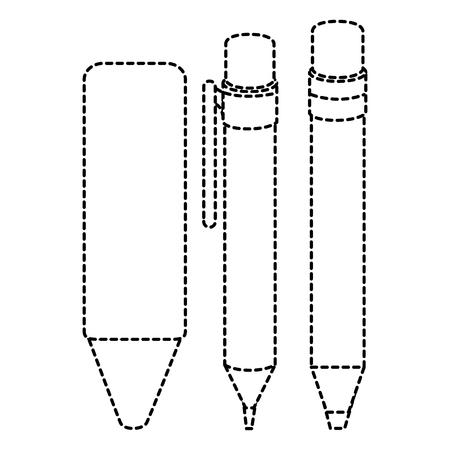 ペン学校鉛筆とクレヨンベクトルイラストデザイン  イラスト・ベクター素材