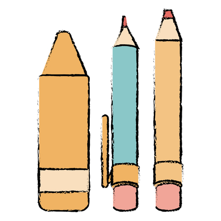 pen school with pencil and crayon vector illustration design