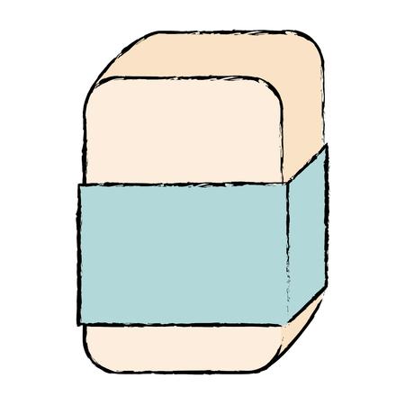 지우개, 학교 편지지 재료 절연 아이콘 벡터 일러스트 디자인