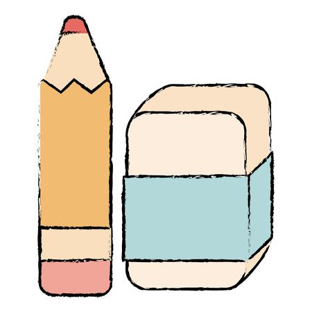 pencil school with eraser vector illustration design