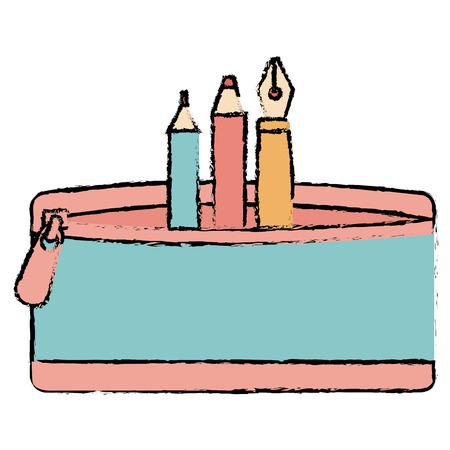 ペンと色の鉛筆ケースベクトルイラストデザイン 写真素材 - 85453216