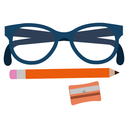 sharpenner school with pencil and glasses vector illustration design