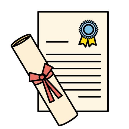 graduation diploma isolated icon vector illustration design Stock Illustratie