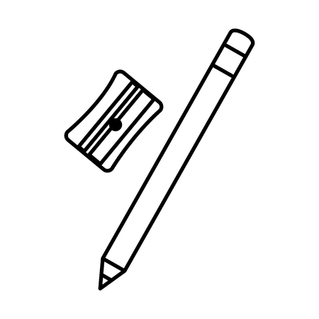 An outline drawing of school stationery material sharpener with pencil vector illustration design Çizim