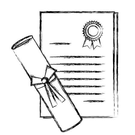 卒業証書分離アイコンベクトルイラストデザイン