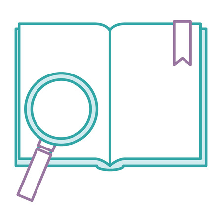 A front view open text book with magnifying glass and a ribbon bookmark vector illustration design