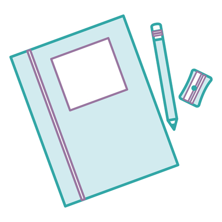 Text book school with pencil and sharpener vector illustration design.