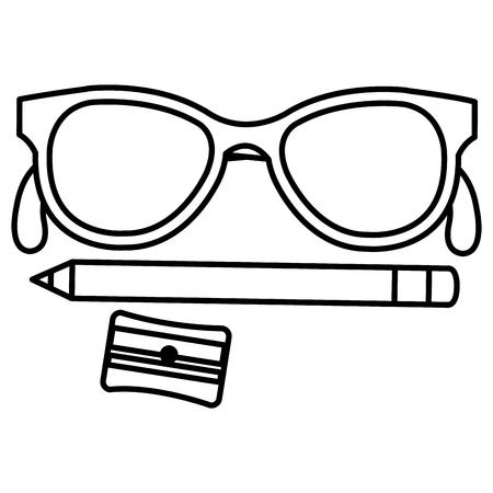 Sharpener school with pencil and glasses vector illustration design.