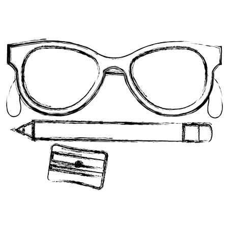 鉛筆とメガネのベクトル イラスト デザインと sharpenner 学校