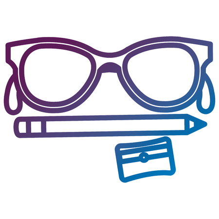 e8e89edac0e sharpenner school with pencil and glasses vector illustration design