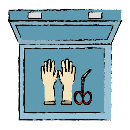 medical kit with gloves and surgical scissors vector illustration design