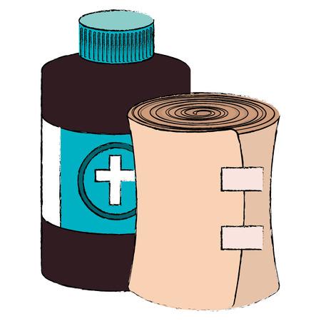 bottle medical with band vector illustration design Çizim