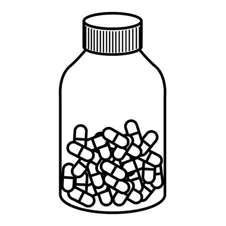 pharmacy symbol: capsules drugs in bottle vector illustration design Illustration