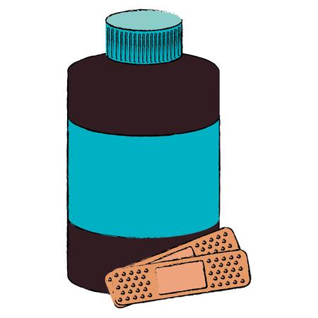 bottle medical with cure bands vector illustration design Ilustração