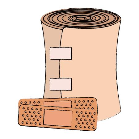医学の包帯およびキュアバンドのベクトルイラストの設計