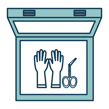 surgical glove: medical kit with gloves and surgical scissors vector illustration design