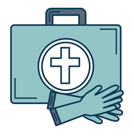 surgical glove: medical kit with gloves vector illustration design Illustration