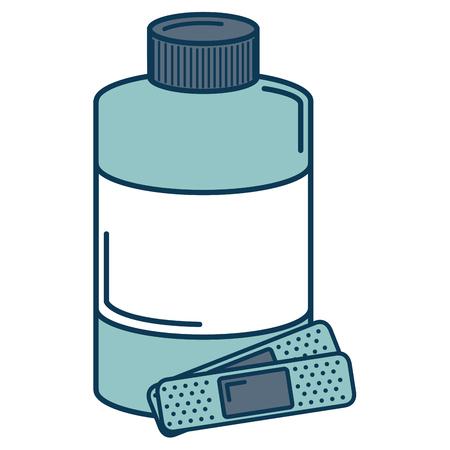 pharmacy symbol: bottle medical with cure bands vector illustration design Illustration
