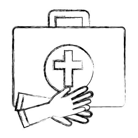 pharmacy symbol: medical kit with gloves vector illustration design Illustration