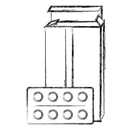 pills drugs in box vector illustration design