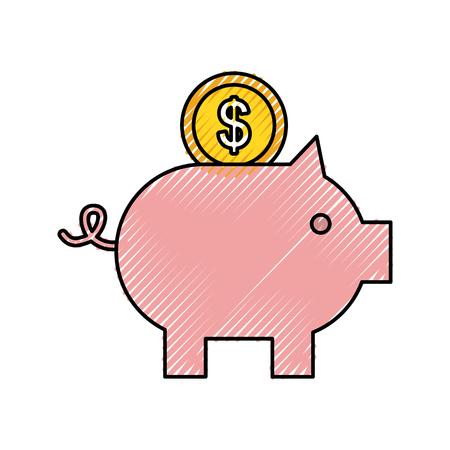 돼지 저금통 은행 저축 또는 돈 투자 벡터 일러스트 레이 션의 축적 일러스트