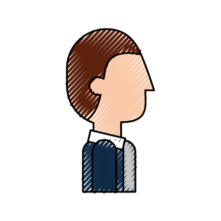 communication cartoon: profile cartoon man business character male vector illustration