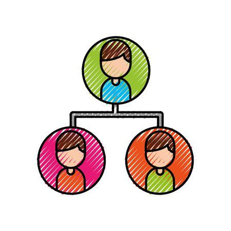 leider en bedrijfscollega's teamorganisatie met karakters vectorillustratie