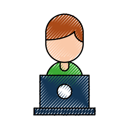 people with laptop work network communication internet icon vector illustration