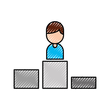 business man on winner podium leader first vector illustration