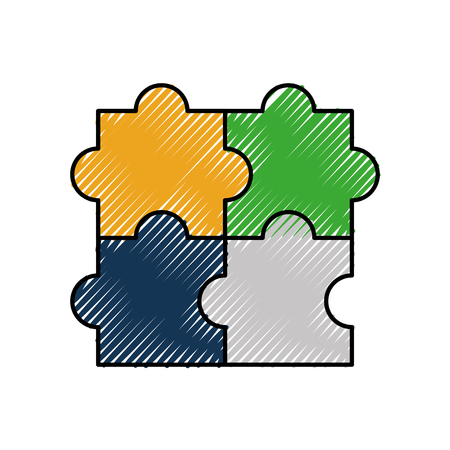 puzzle jigsaw strategy goal business symbol vector illustration Çizim